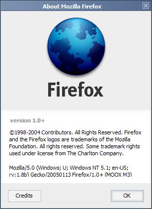 Mozilla/5.0 (Windows; U; Windows NT 5.1; en-US; rv:1.8b) Gecko/20050113 Firefox/1.0+ (MOOX M3)