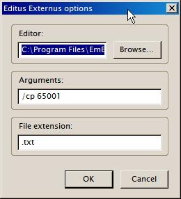 Editus Externus option