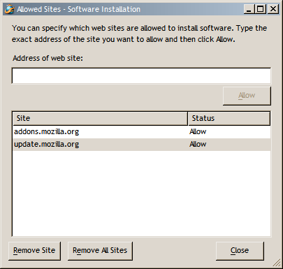 Allowed Sites - Software Installation