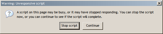 Warning: Unresponsive script