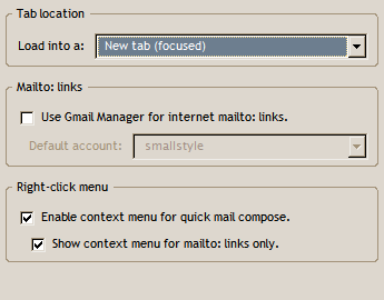 mailto リンクに関する設定画面