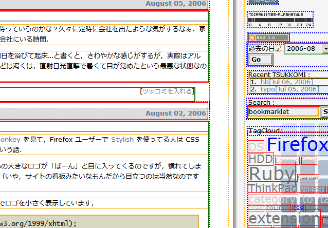 CSS Debugging Snippet を適用したSmallStyle