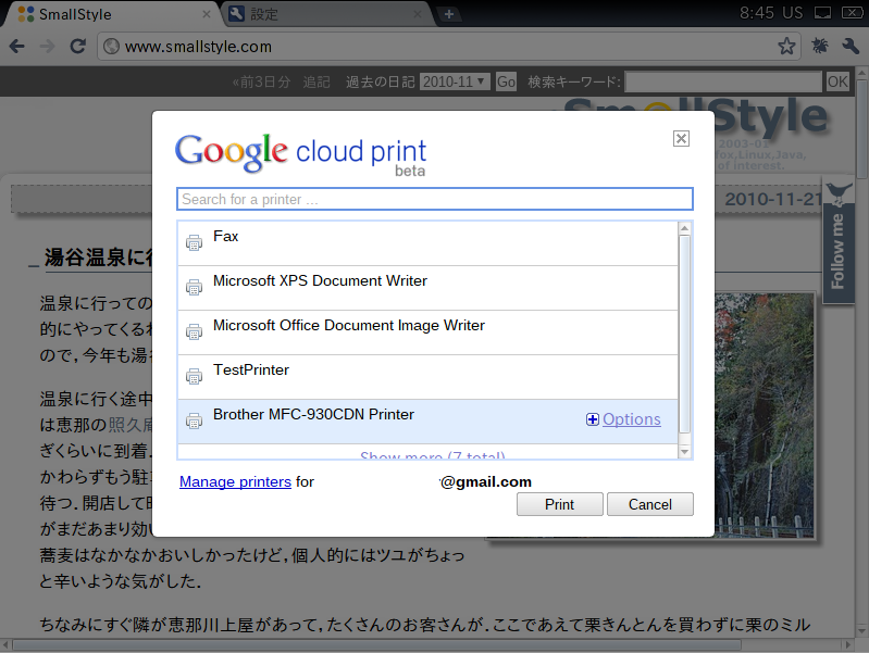Chrome OS の印刷画面