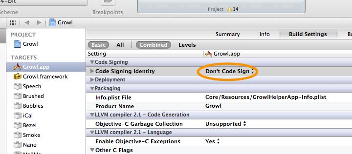 TargetsのCode Signing Identity
